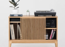 Retro record player stand and storage by Mo Woodwork