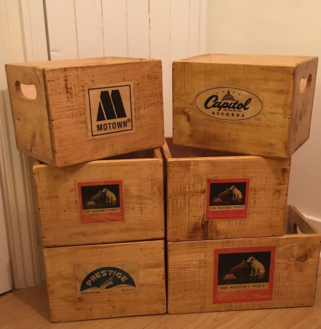 50. Wooden 7-inch record storage cases