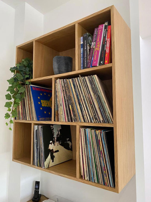 34. Vinyl wall cabinet by Lee Furniture