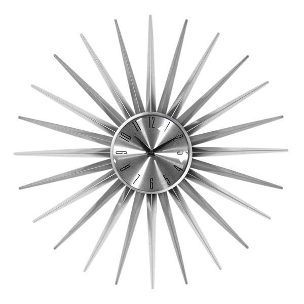 2. Sunburst wall clock in silver at La Redoute