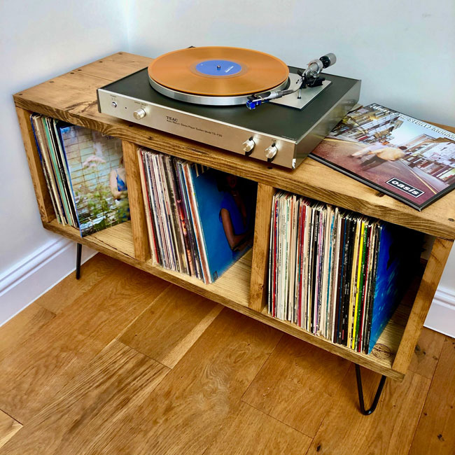 27. Handmade vinyl storage stand by Sussex Wood Furniture