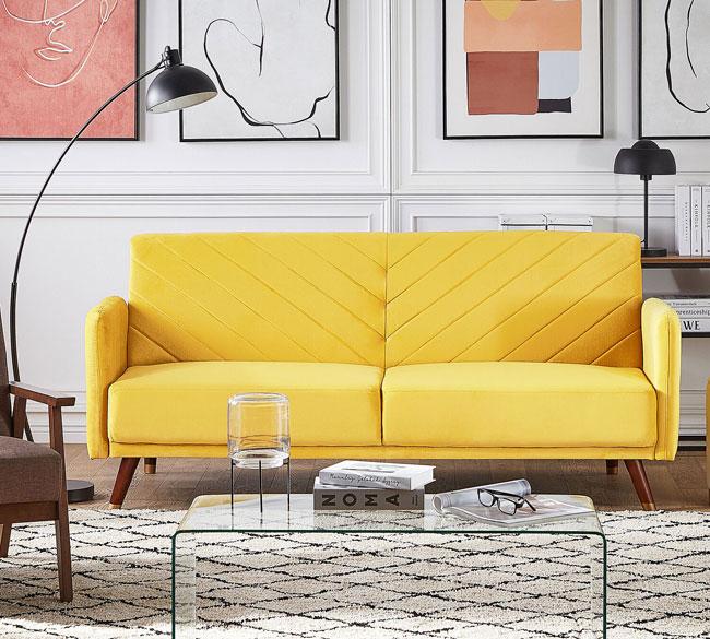 10. Senja velvet fabric sofa bed at Beliani