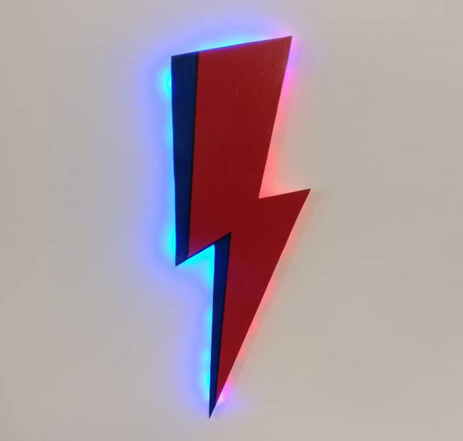 10. David Bowie Lightning Bolt LED lamp and wall hanging