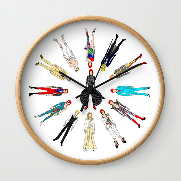 3. David Bowie Outfits wall clock