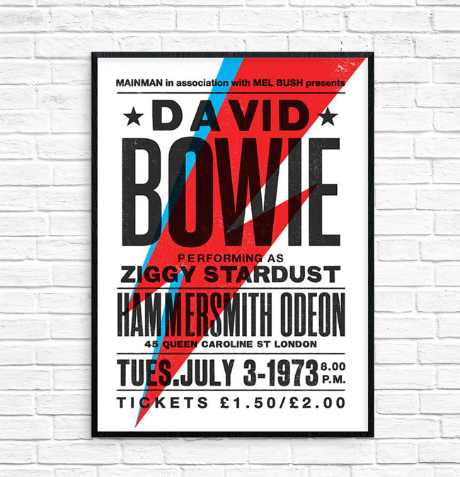 5. David Bowie Ziggy Stardust tour poster