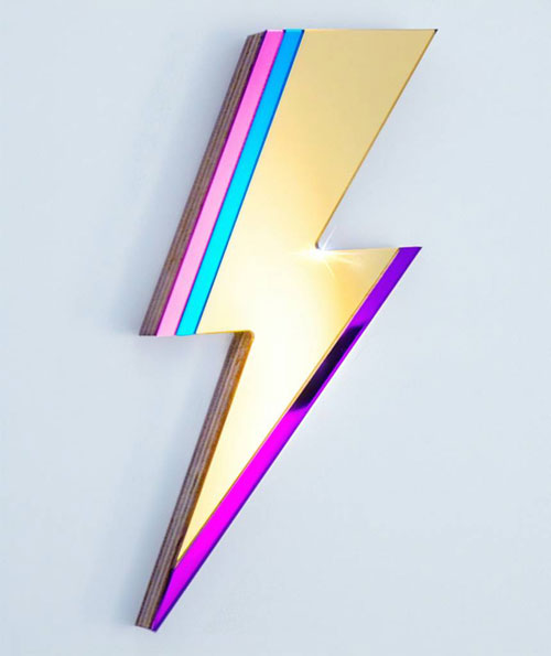 6. Bowie-inspired Lightning Bolt Mirror by Antipodream