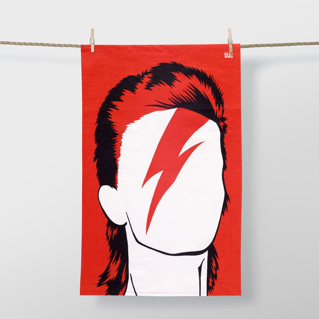 9. David Bowie Aladdin Sane tea towel