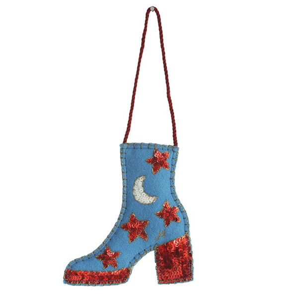 Glam rock Christmas decorations and stockings by Jan Constantine