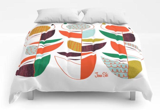 22. Bold midcentury modern duvet covers by Jenn Ski