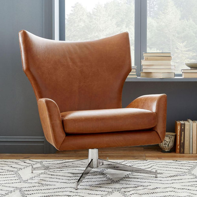 2. Hemming leather swivel armchair at West Elm