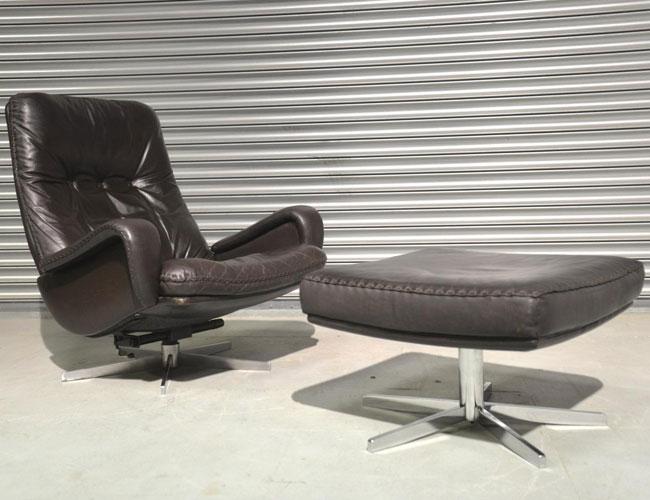 6. 1960s De Sede S231 swivel lounge armchair