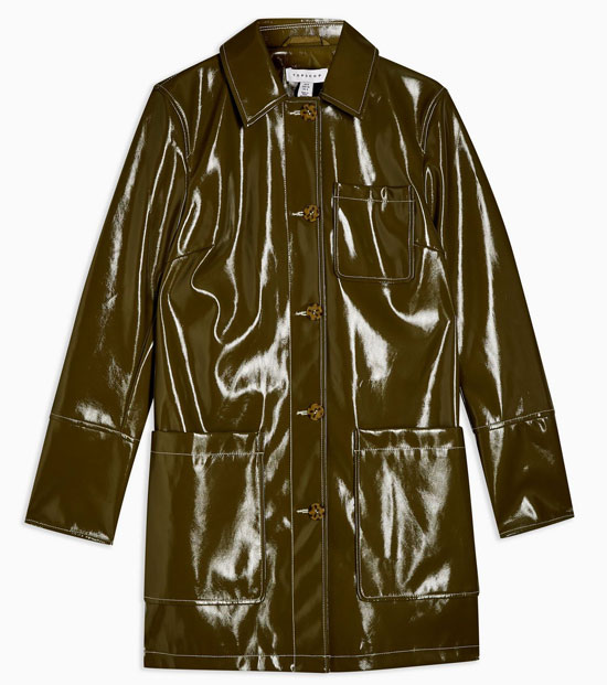 1960s-style vinyl car coat at Topshop