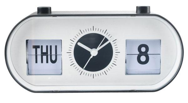 16. Olle bedside alarm clock with flip calendar