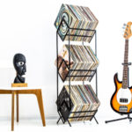 Metal vinyl storage racks by Design Atelier