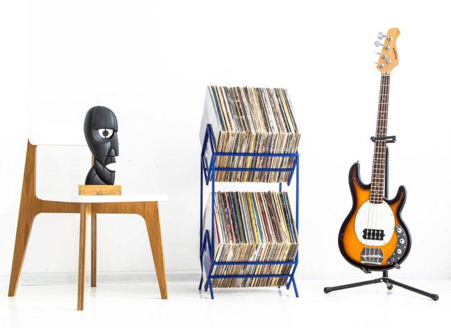 Metal vinyl storage racks by Design Atelier