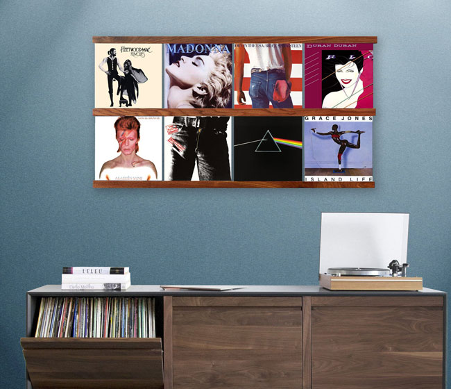 Vinyl storage shelving by Scandinavian Wood Art