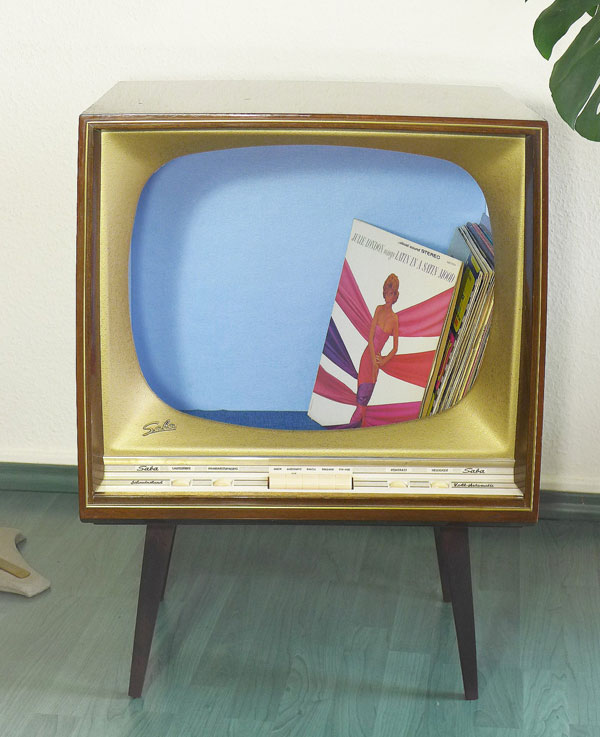 Upcycled midcentury modern television cabinet