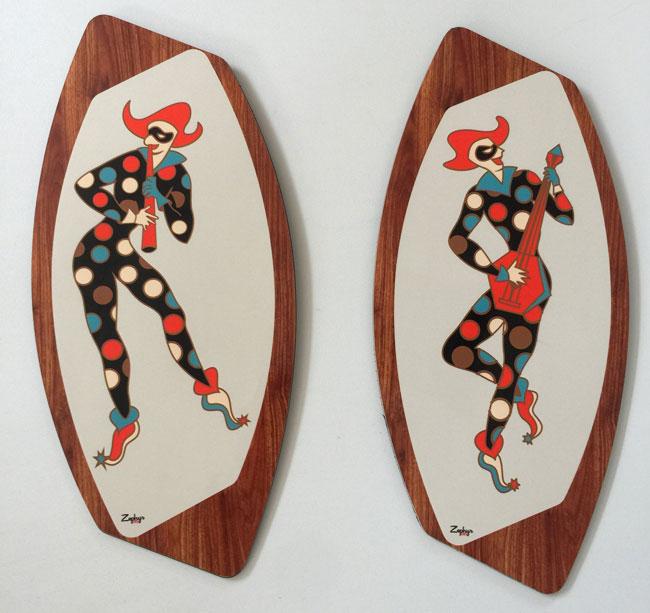 Handmade midcentury wall art plaques by Royale Enamel