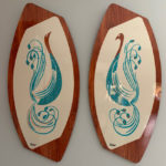 Handmade midcentury wall art plaques by Royale Enamel