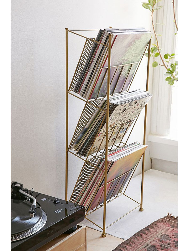 Retro vinyl storage rack at Urban Outfitters