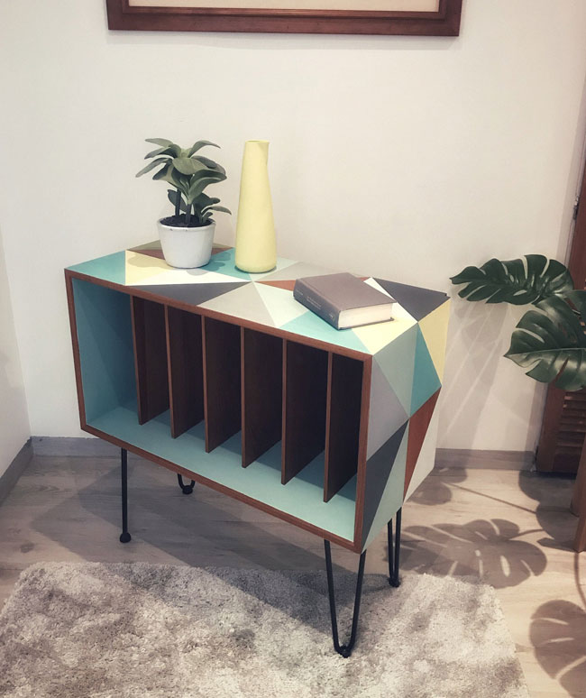 Upcycled Danish record storage unit at Etsy