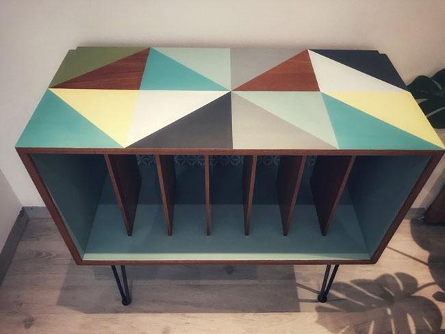 Upcycled Danish record storage unit at Etsy