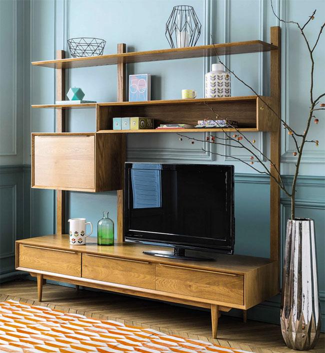 Portobello solid oak midcentury modern TV unit at Maisons Du Monde