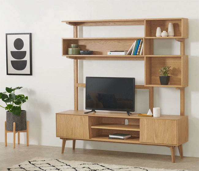 2. Wingrove retro media and shelving unit at Made