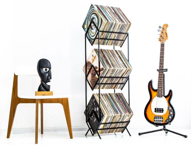 26. Metal vinyl storage racks by Design Atelier