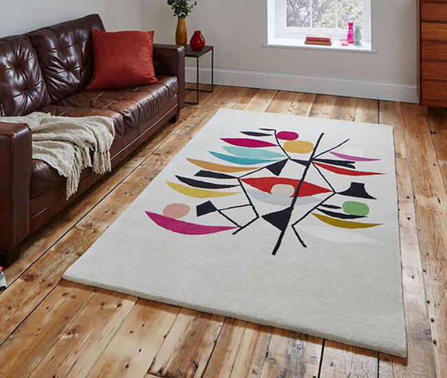 32. Midcentury interior: Inaluxe retro abstract rugs