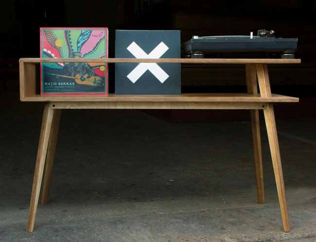 Retro record player tables by BnE Studio