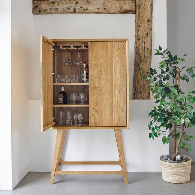 11. Ellipse retro oak drinks cabinet at Oak Furnitureland