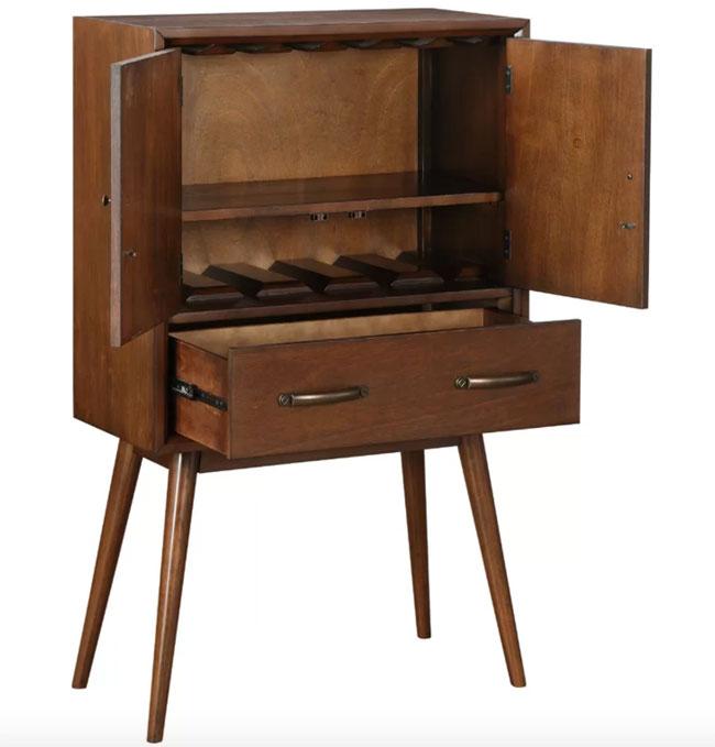 3. Morris midcentury modern bar cabinet at Wayfair
