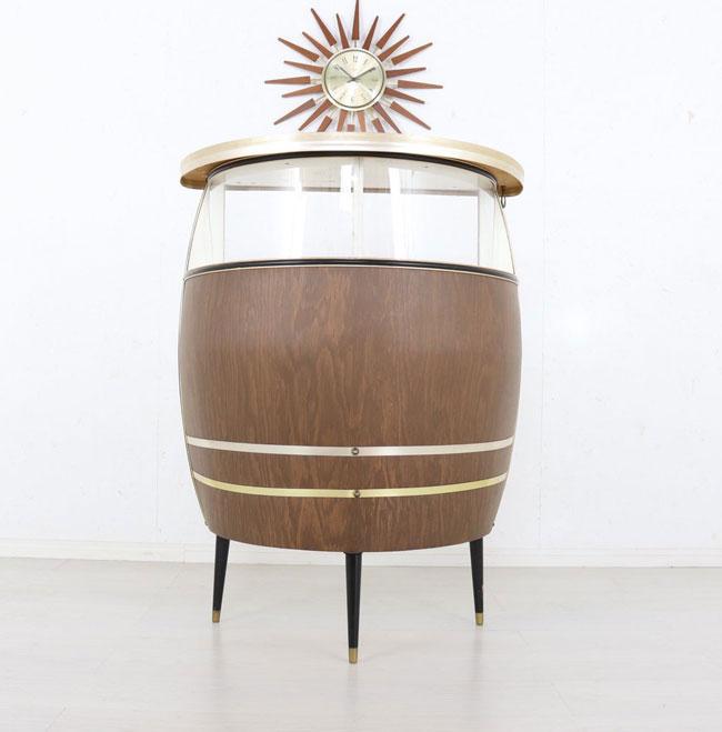 9. Vintage 1960s barrel home cocktail bar