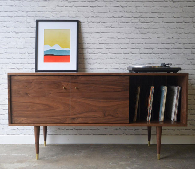 35. Walnut sideboard with record storage by Stor New York