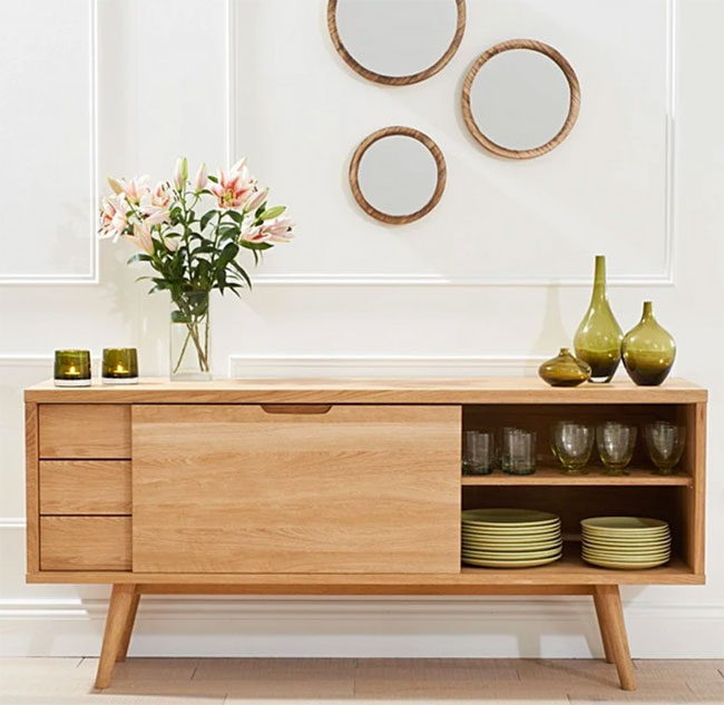 47. Tivoli retro oak sideboard at Oak Furniture Superstore