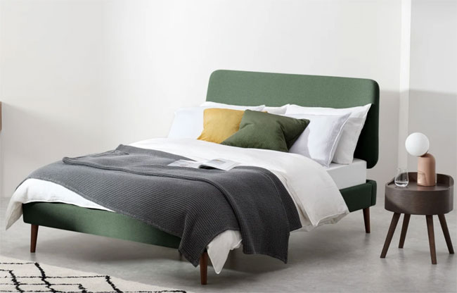 24. Lowrie midcentury modern bed at Made