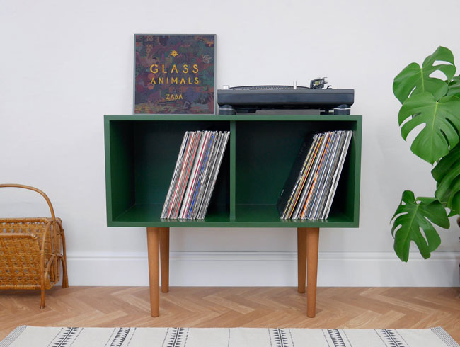 Handmade retro vinyl cabinets by Elizabeth Dot Design
