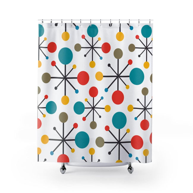 Bold retro shower curtains by Midcentury Modern Gal