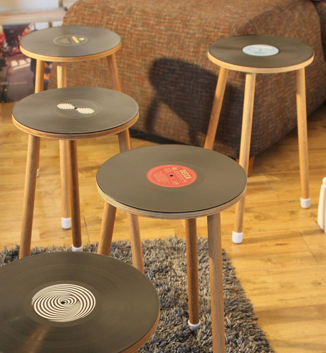 Vibyl bespoke handmade vinyl side tables