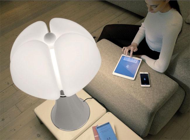 1960s Gae Aulenti Pipistrello Lamp gets a Bluetooth upgrade